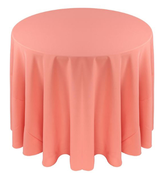 Solid Polyester Tablecloth Linen-Salmon