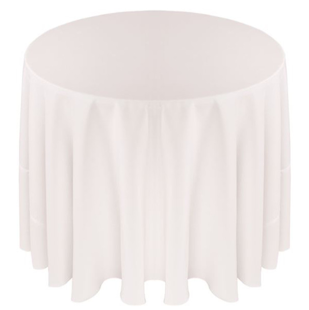 Solid Polyester Tablecloth Linen-White