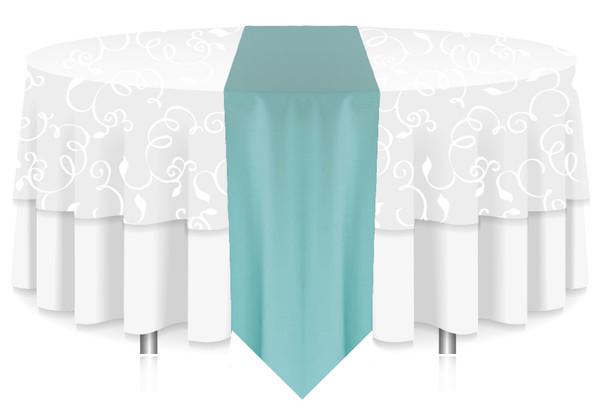 Solid Polyester Table Runner Linen-Aqua