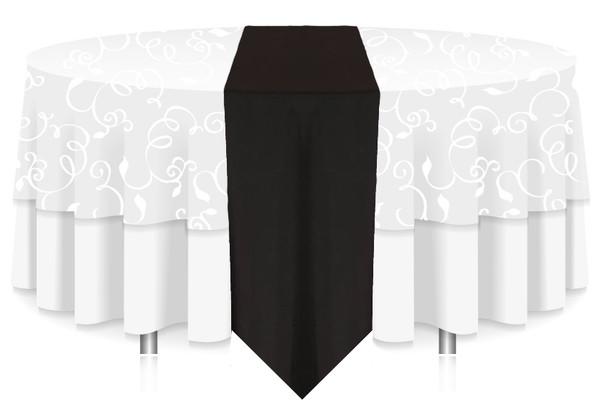 Solid Polyester Table Runner Linen-Black