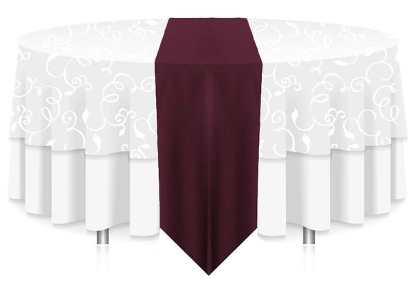 Solid Polyester Table Runner Linen-Aubergine