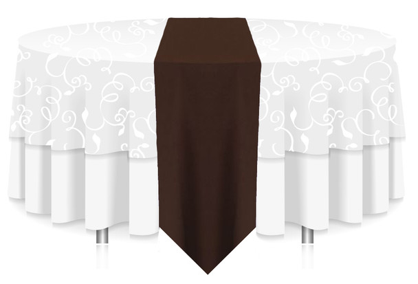 Solid Polyester Table Runner Linen-Brown