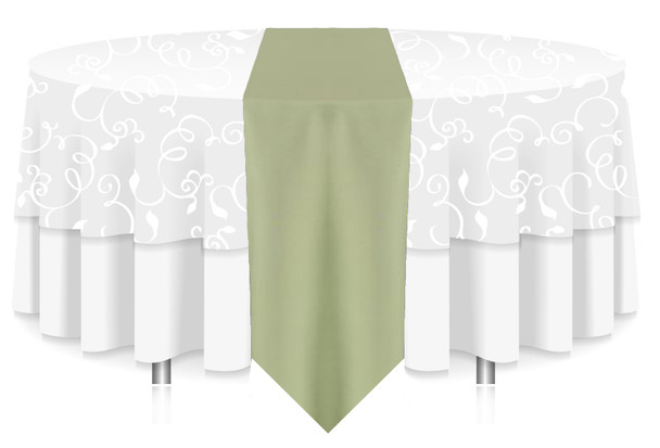 Solid Polyester Table Runner Linen-Celadon