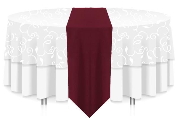 Solid Polyester Table Runner Linen-Burgundy