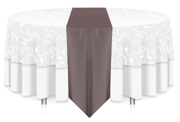 Solid Polyester Table Runner Linen-Charcoal