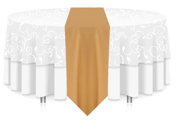 Solid Polyester Table Runner Linen-Camel