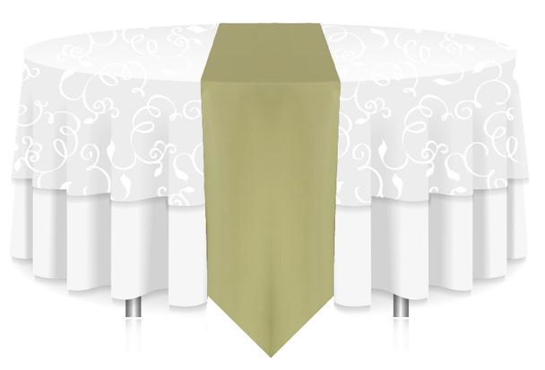 Solid Polyester Table Runner Linen-Clover