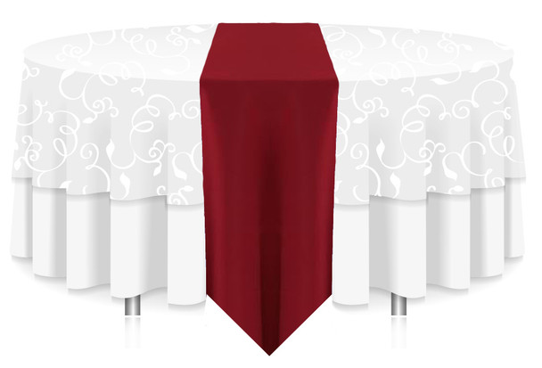Solid Polyester Table Runner Linen-Cherry Red