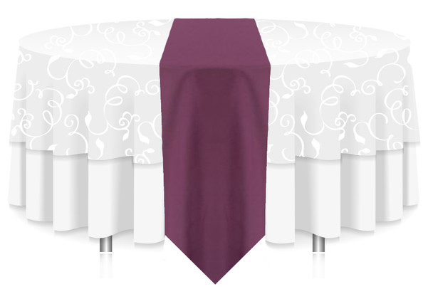 Solid Polyester Table Runner Linen-Claret