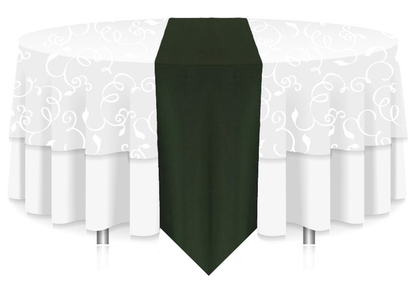 Solid Polyester Table Runner Linen-Forest