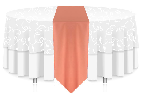 Solid Polyester Table Runner Linen-Coral