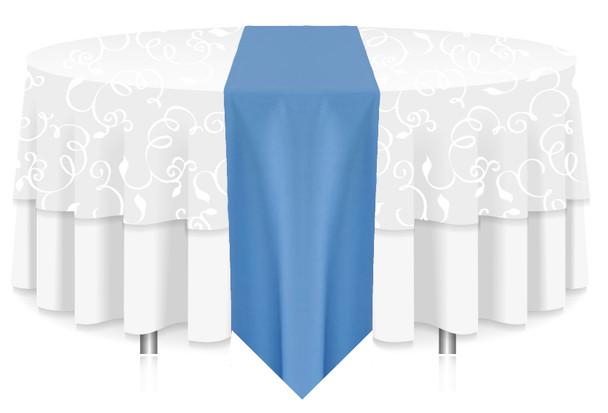 Solid Polyester Table Runner Linen-Cornflower