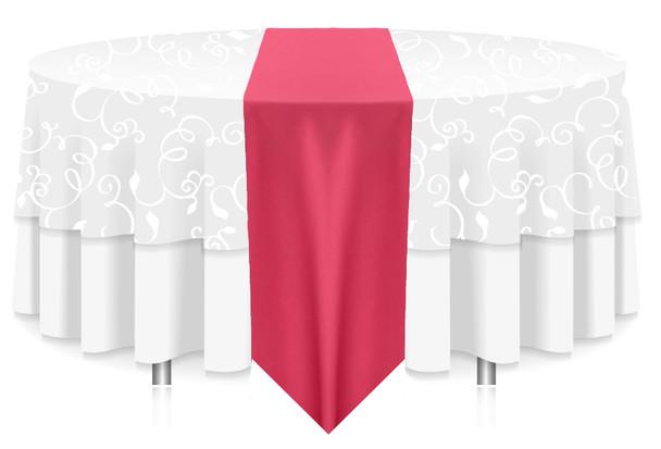 Solid Polyester Table Runner Linen-Fuchsia