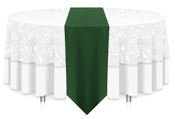 Solid Polyester Table Runner Linen-Hunter