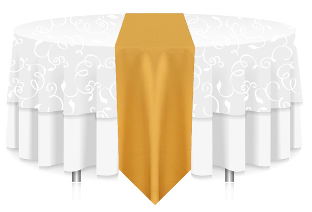 Solid Polyester Table Runner Linen-Gold