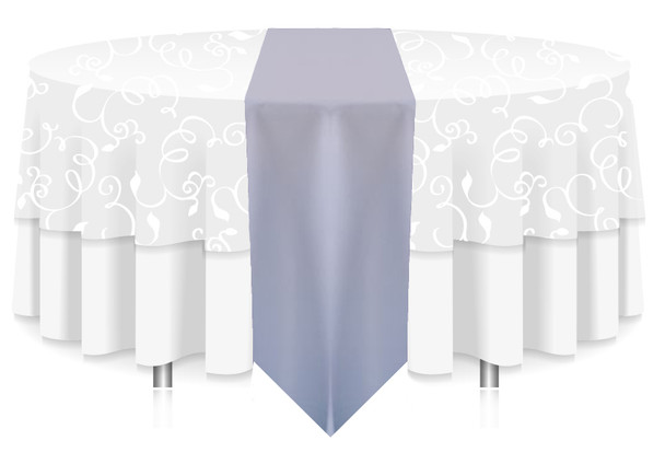 Solid Polyester Table Runner Linen-Light Blue
