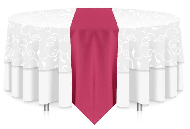 Solid Polyester Table Runner Linen-Hot Pink