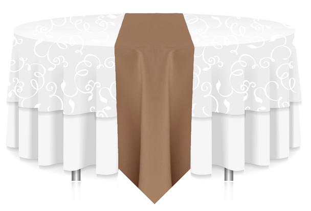 Solid Polyester Table Runner Linen-Khaki