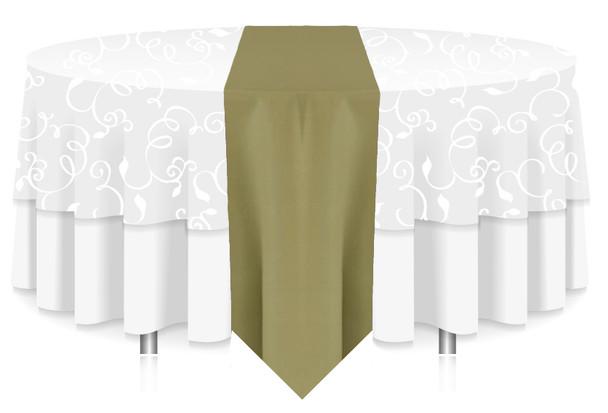 Solid Polyester Table Runner Linen-Light Olive