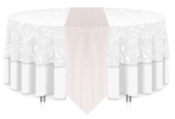 Solid Polyester Table Runner Linen-White