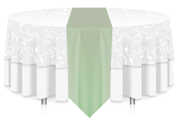 Solid Polyester Table Runner Linen-MInt