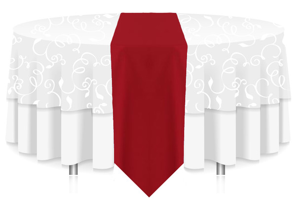 Solid Polyester Table Runner Linen-Red
