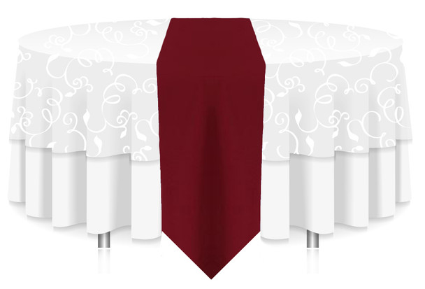 Solid Polyester Table Runner Linen-Ruby