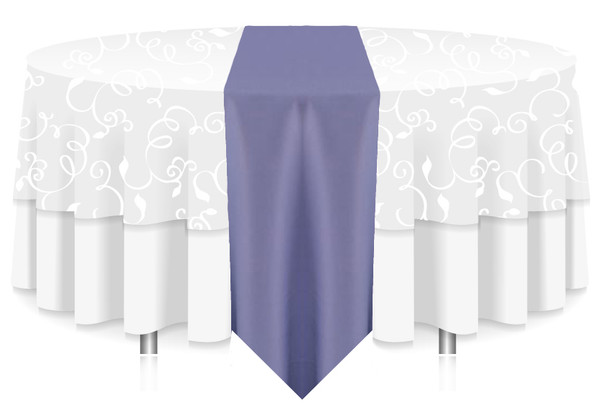 Solid Polyester Table Runner Linen-Periwinkle