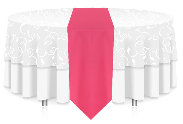 Solid Polyester Table Runner Linen-Neon Pink