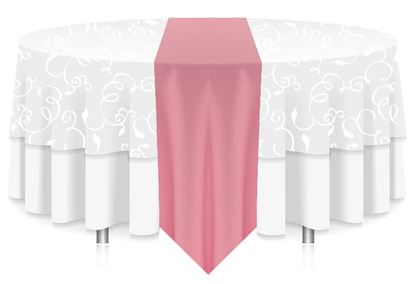 Solid Polyester Table Runner Linen-Pink