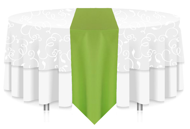 Solid Polyester Table Runner Linen-LIme