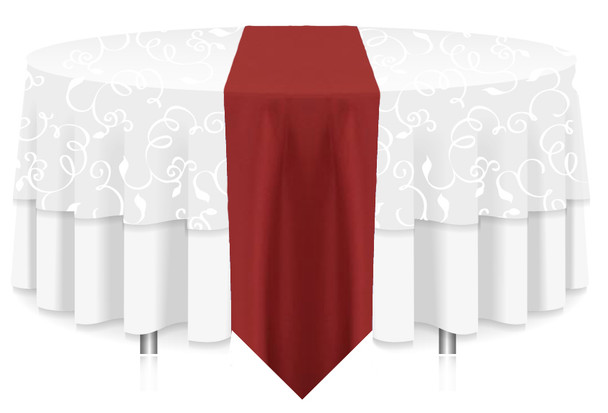 Solid Polyester Table Runner Linen-Terracotta