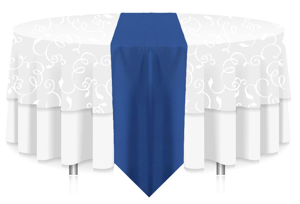 Solid Polyester Table Runner Linen-Royal