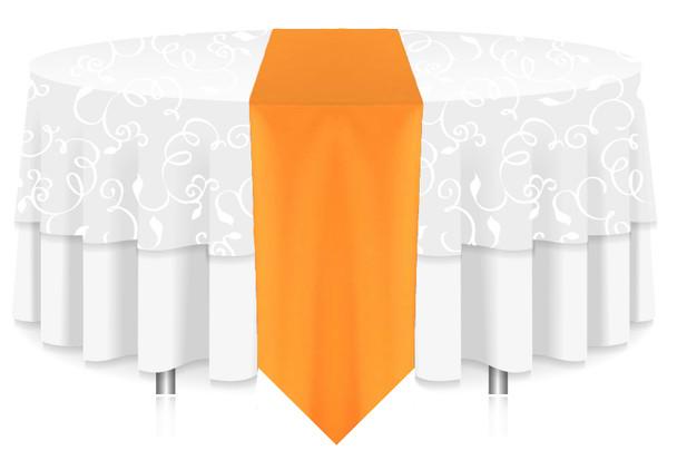 Solid Polyester Table Runner Linen-Neon Tangerine