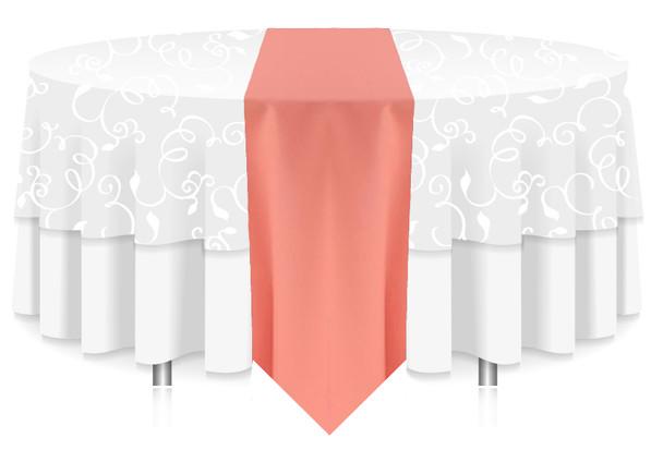 Solid Polyester Table Runner Linen-Salmon