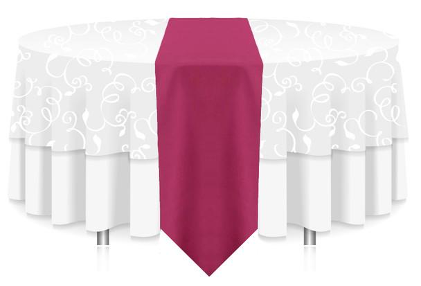 Solid Polyester Table Runner Linen-Raspberry
