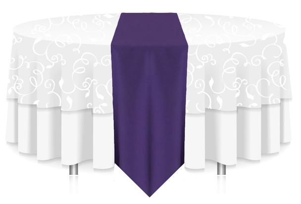 Solid Polyester Table Runner Linen-Pruple