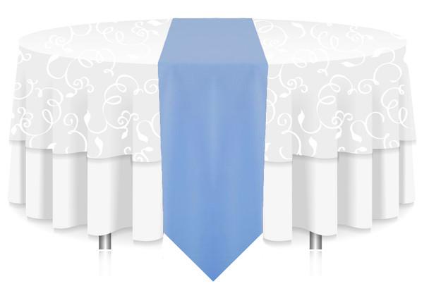 Solid Polyester Table Runner Linen-Powder Blue