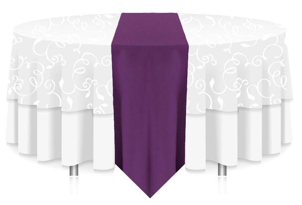 Solid Polyester Table Runner Linen-Plum