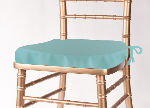 Solid Polyester Seat Cushion Cover-Aqua