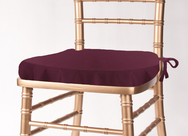 Solid Polyester Seat Cushion Cover-Aubergine