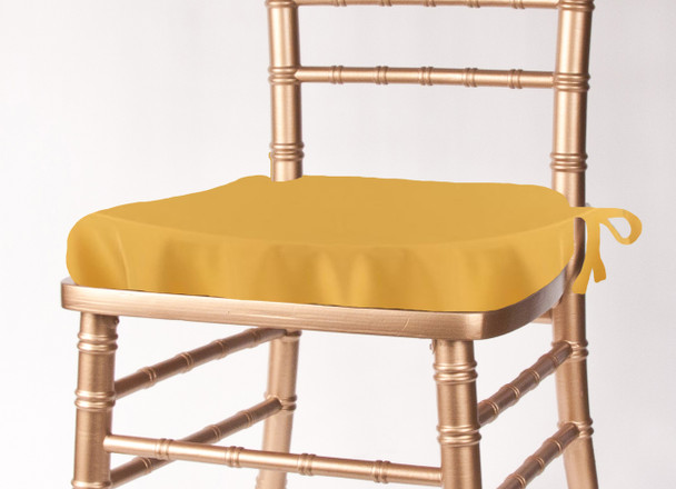 Solid Polyester Seat Cushion Cover-Gold
