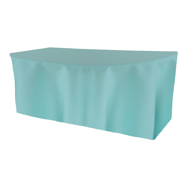 Solid Polyester Fitted Table Box Linen-Aqua