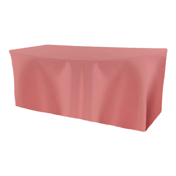 Solid Polyester Fitted Table Box Linen-Dusty Rose