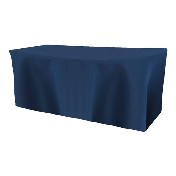 Solid Polyester Fitted Table Box Linen-Dark Blue
