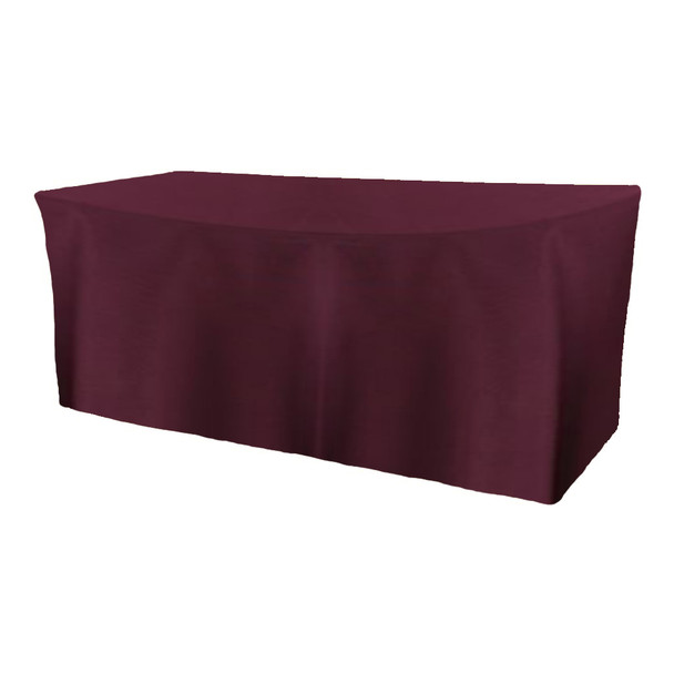 Solid Polyester Fitted Table Box Linen-Aubergine