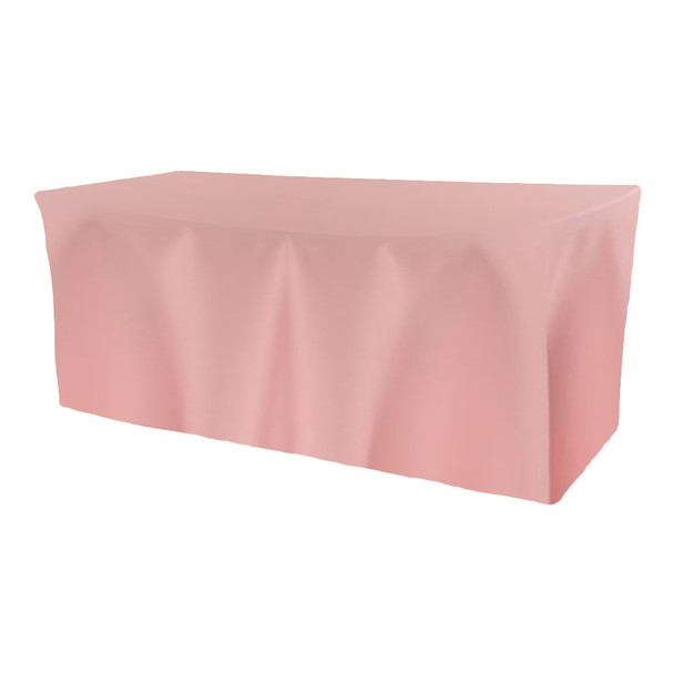 Solid Polyester Fitted Table Box Linen-Light Pink