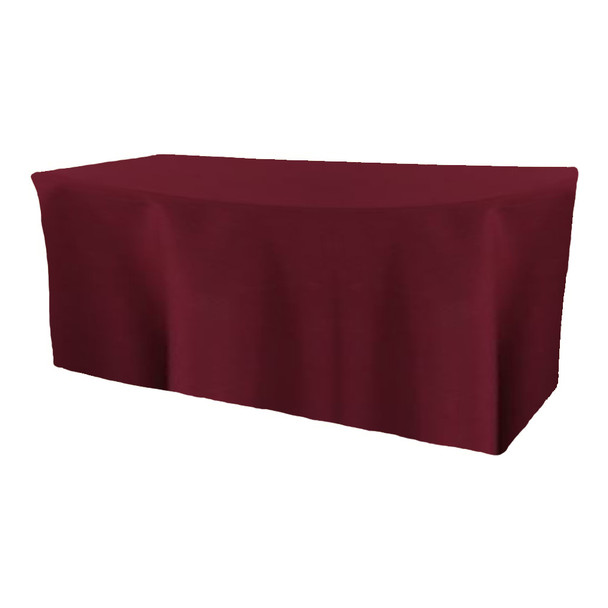 Solid Polyester Fitted Table Box Linen-Burgundy