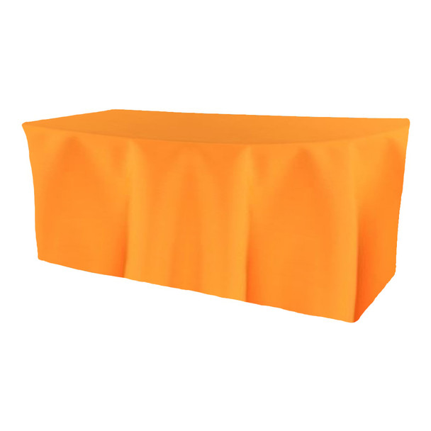 Solid Polyester Fitted Table Box Linen-Neon Tangerine