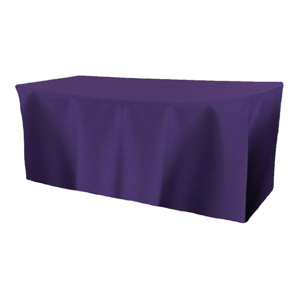 Solid Polyester Fitted Table Box Linen-Purple